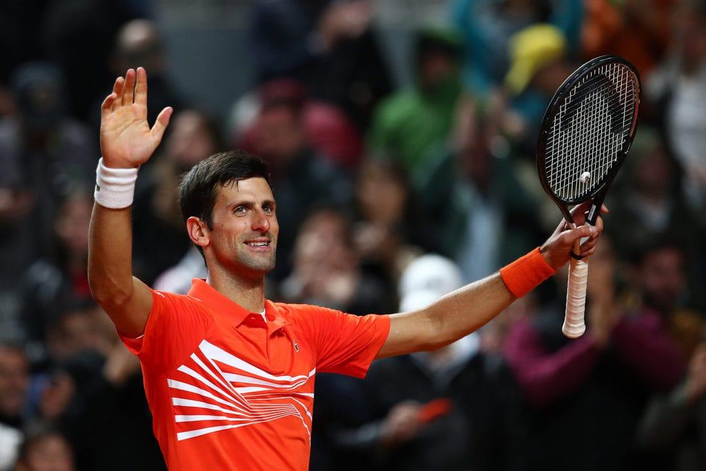 Novak Djokovic celebrates victory at BNL d'Italia at Foro Italico on May 16, 2019 in Rome, Italy.