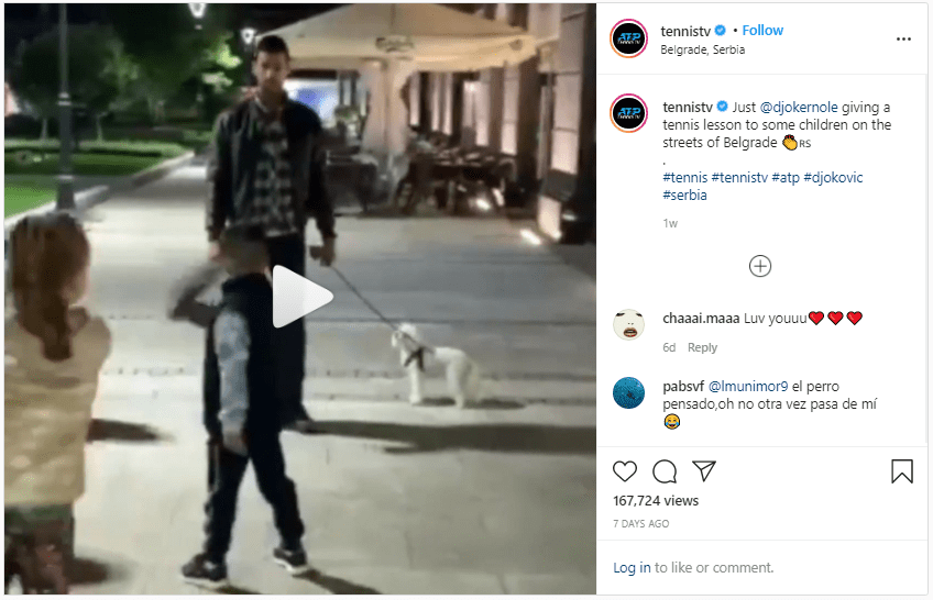 Nole pausing his evening walk to give kids a free tennis lesson on the street