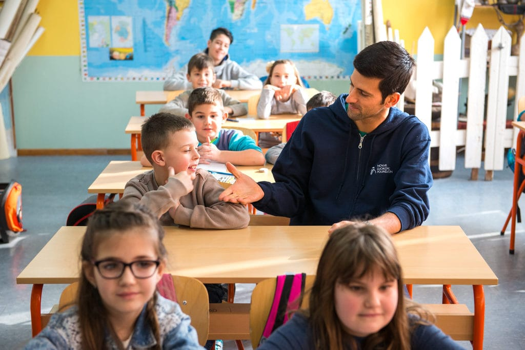 Novak Djokovic visiting a school in Nis for a project funded by his organization