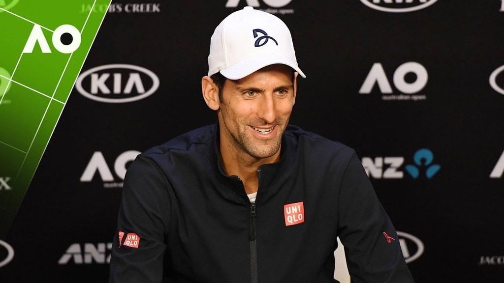 Novak Djokovic during a press conference at Australian Open