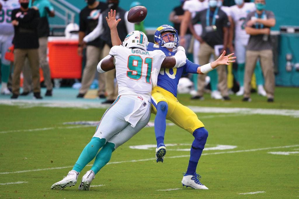 The Miami Dolphins during a game