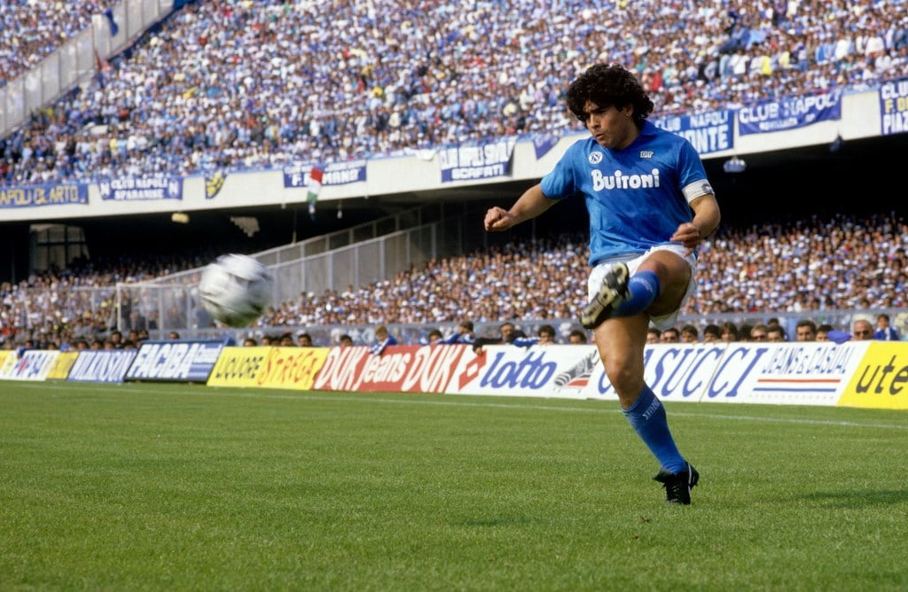 Diego Maradona on the field