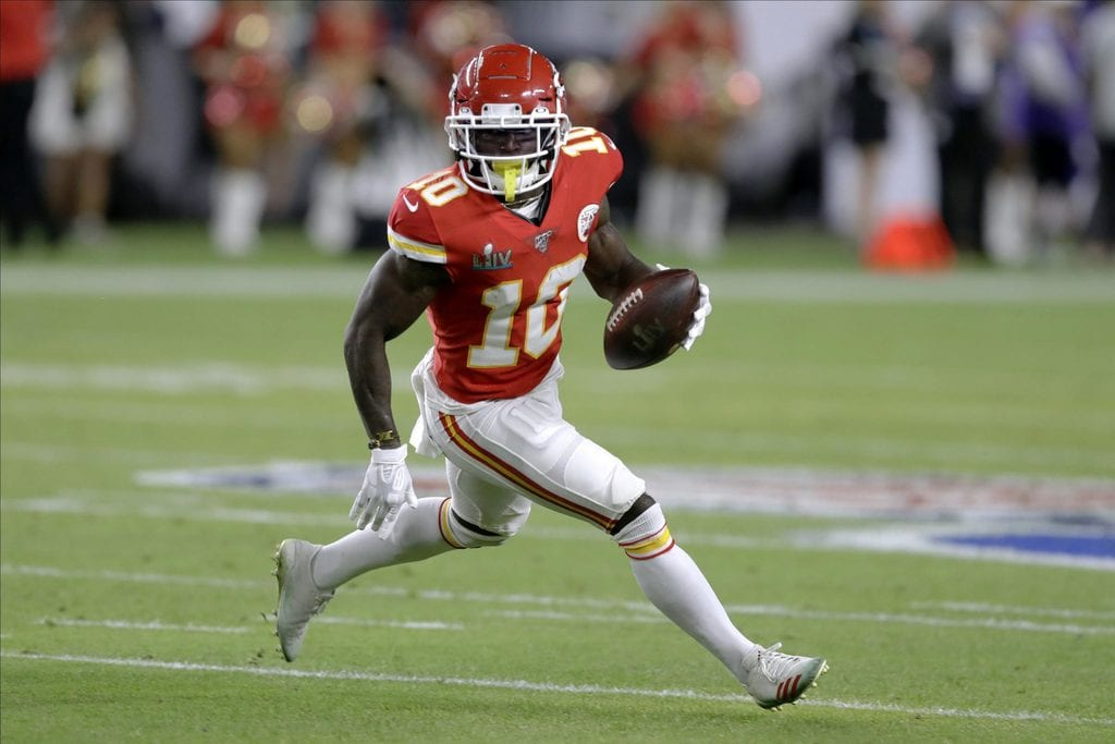 Tyreek Hill, the fastest NFL player, on the field
