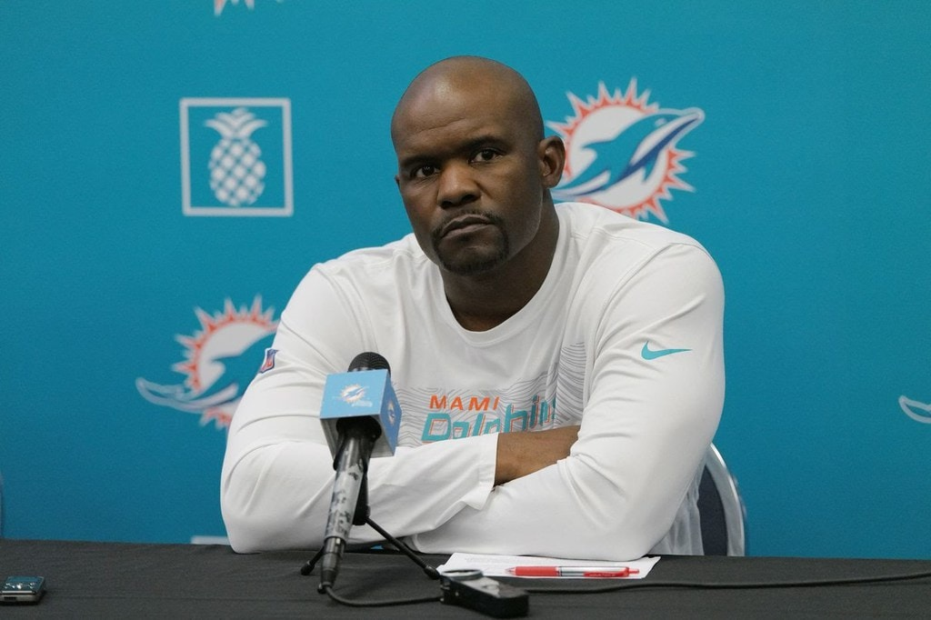 Dolphin's Coach Brian Flores During an Interview