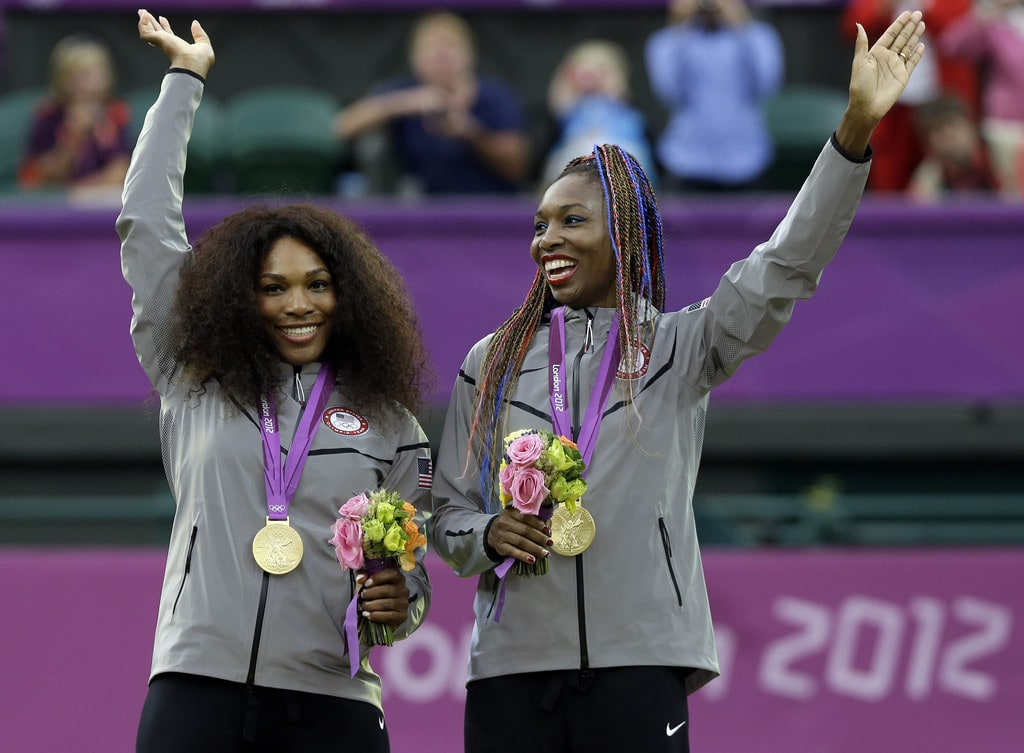 Venus and Serena Williams with their 2012 Olympic Gold Medals in women's doubles