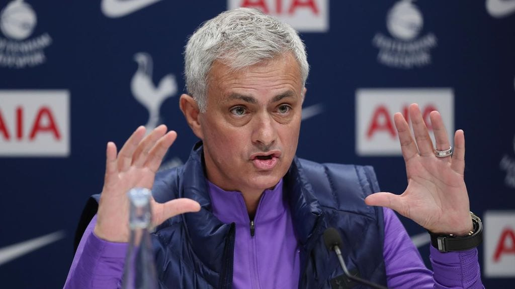 Jose Mourinho during a post-match press conference