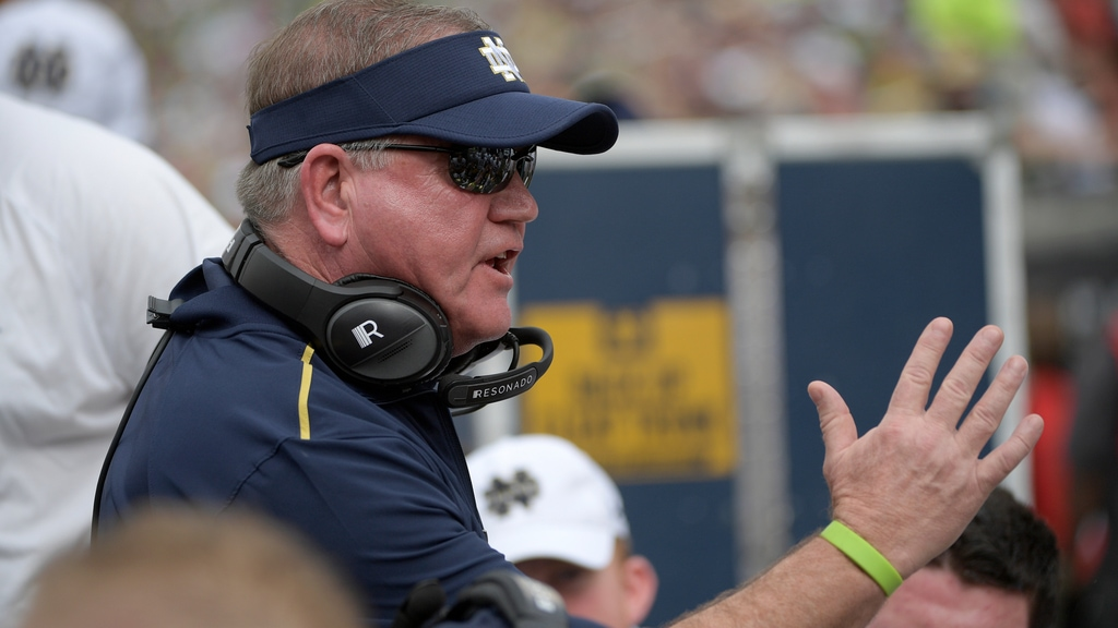 Notre Dame head coach Brian Kelly talks to players at the bench during the Camping World Bowl NCAA college football game against Iowa State Saturday, Dec. 28, 2019