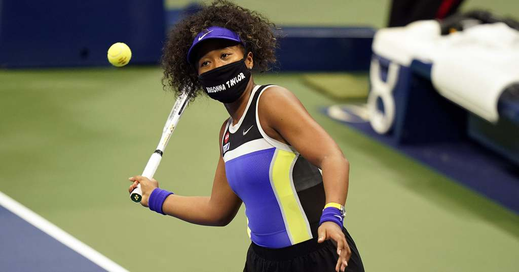 Naomi Osaka during 2020 US Open wearing a mask honoring Breonna Taylor