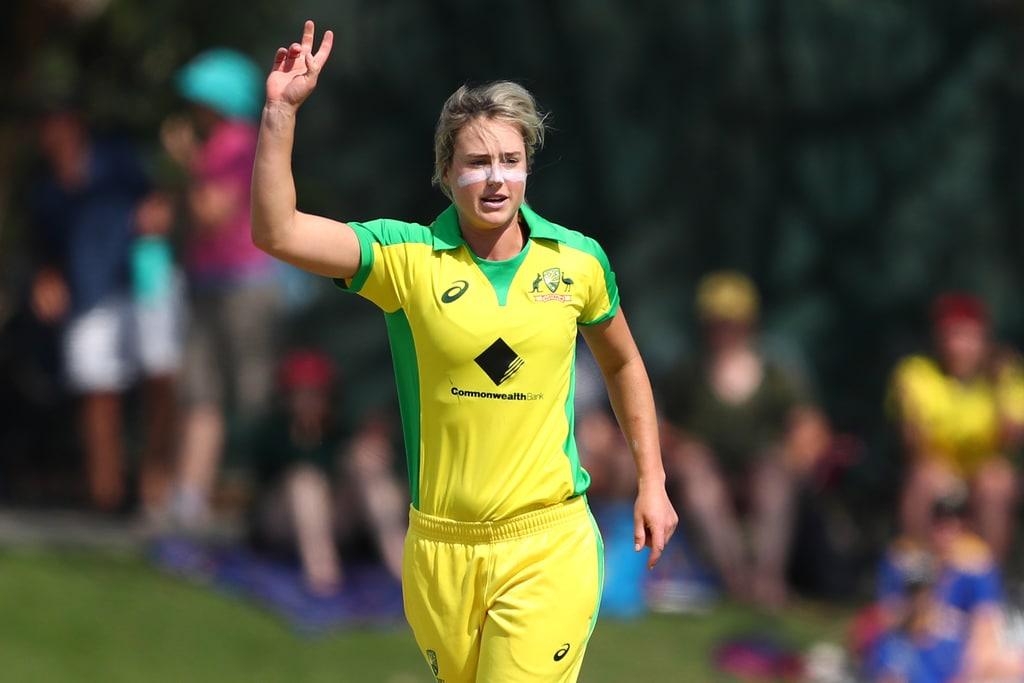 Ellyse Perry of Australia celebrates after dismissing Anushka Sanjeewani of Sri Lanka during the Australia v Sri Lanka Women's ODI Game 1 the at Allan Border Field on October 05, 2019 in Brisbane, Australia.