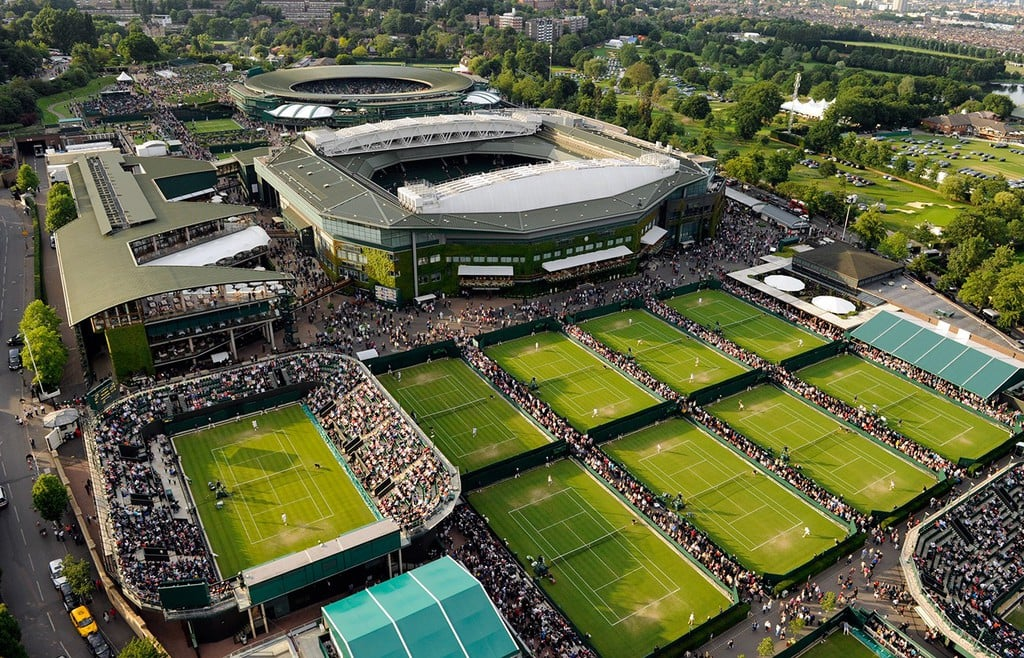 The tennis courts at All England Club, bird's eye view