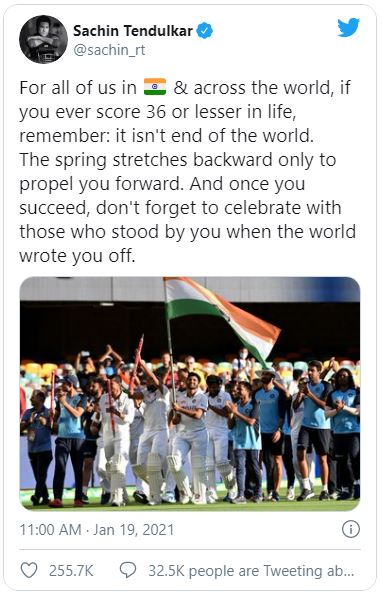 Twitter post about India's victory