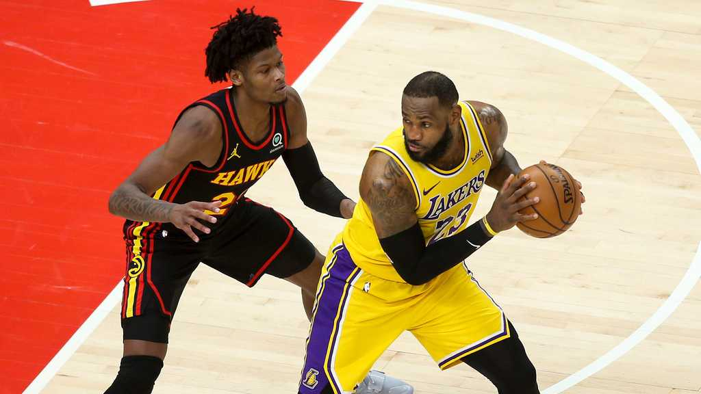 LeBron James playing for the Los Angeles Lakers vs. the Atlanta Hawks in Monday night's game.
