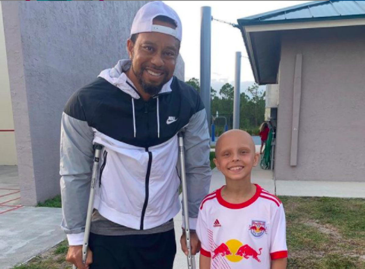 Tiger Woods and Luna Perrone at an over-the-weekend soccer game.