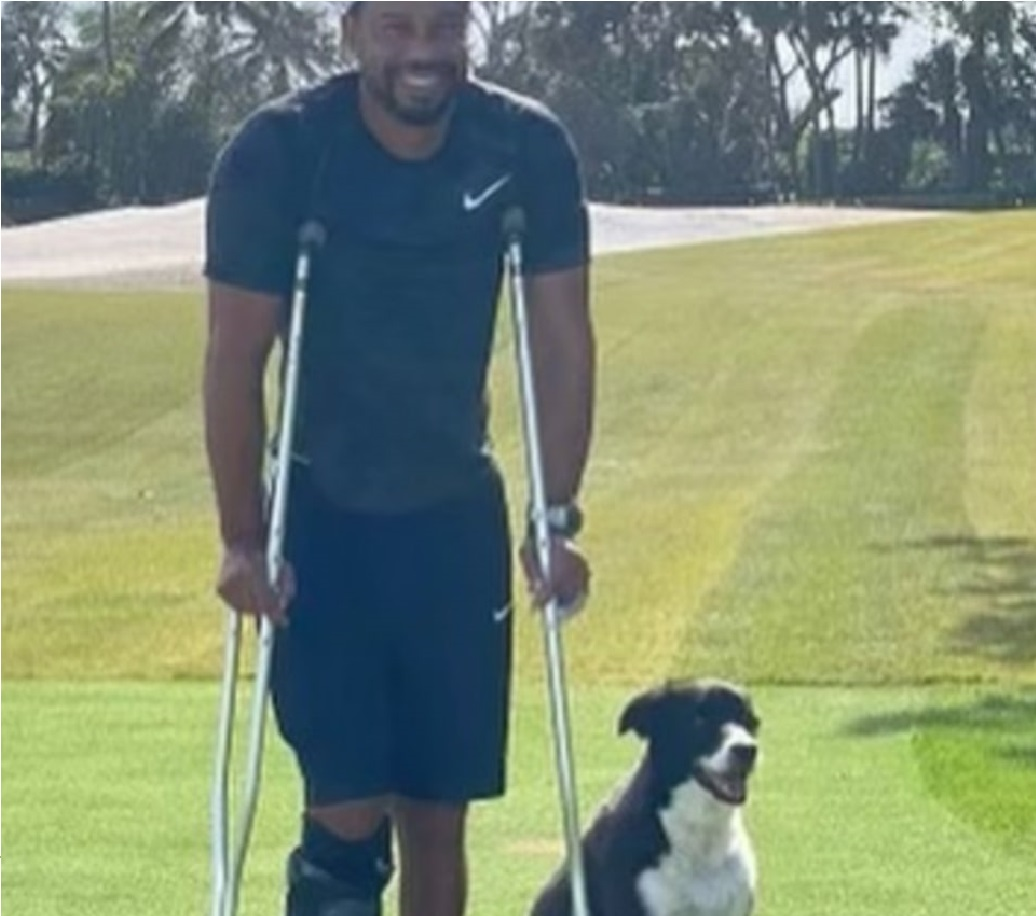 Tiger Woods in his first photo after the car accident.