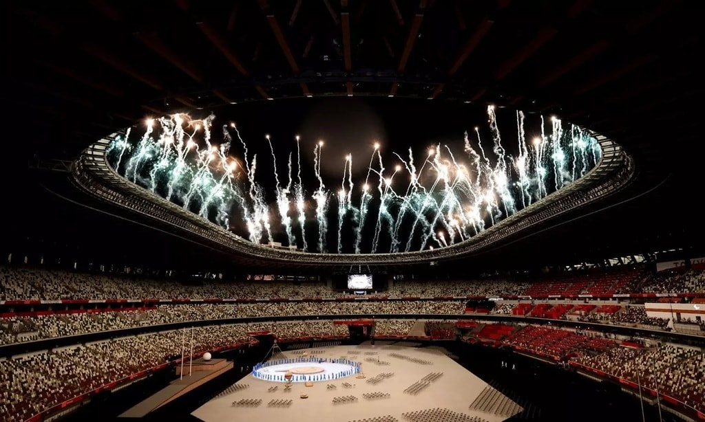The Tokyo 2020 Paralympic Games opening ceremony - fireworks moment.