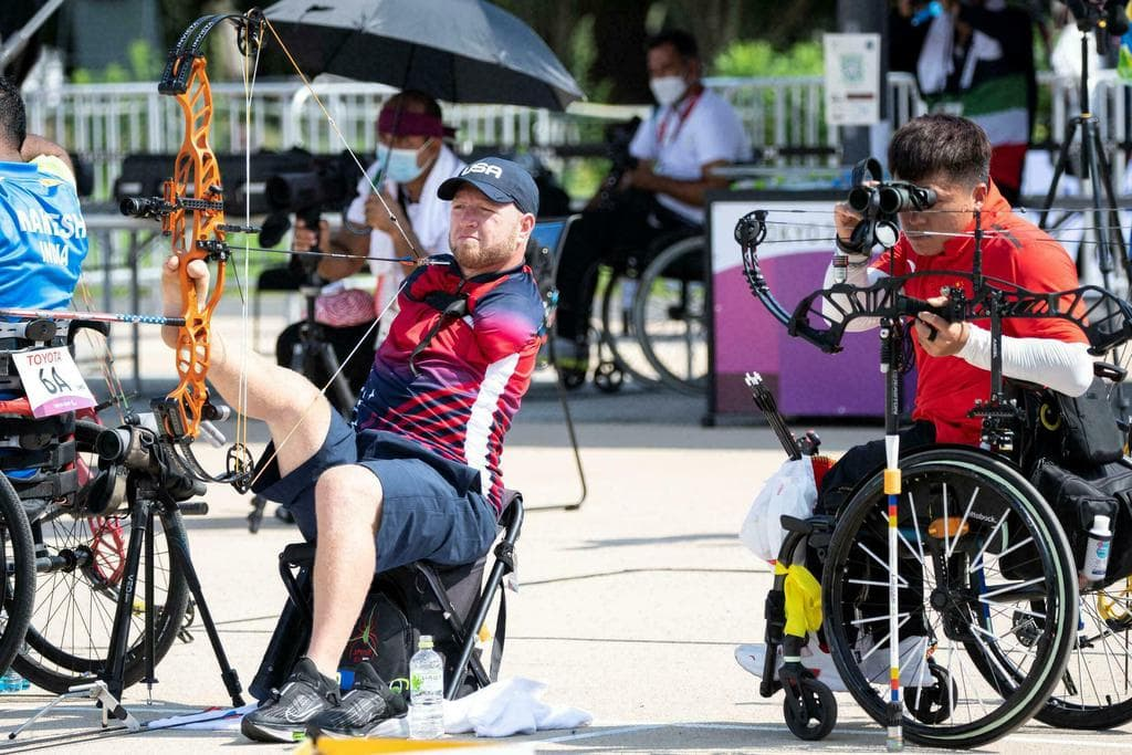 USA's Matt Stutzman competing in the men's archery during the Tokyo 2020 Paralympic Games