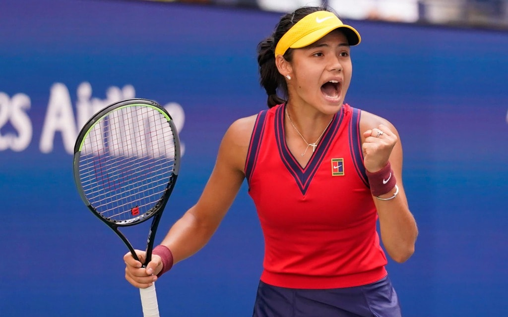 Emma Raducanu celebrating a point against Shelby Rogers during the fourth round of the 2021 U.S. Open.