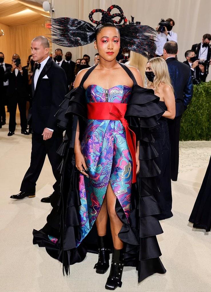 tennis player Naomi Osaka at the red carpet at the 2021 Met Gala